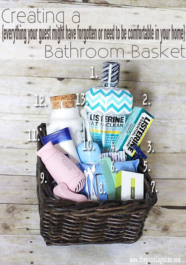 Every idea you need to make a guest basket for the bathroom! Love this idea!