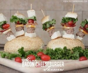 So fun for game day! Mini Bacon Cheeseburger Skewers!