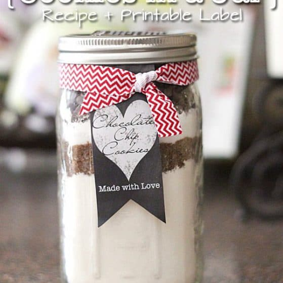 Thick & Chewy Chocolate Chip Cookies in a Jar {Recipe + Printable Label} - The gift version of our top recipe- pinned over 100K times!
