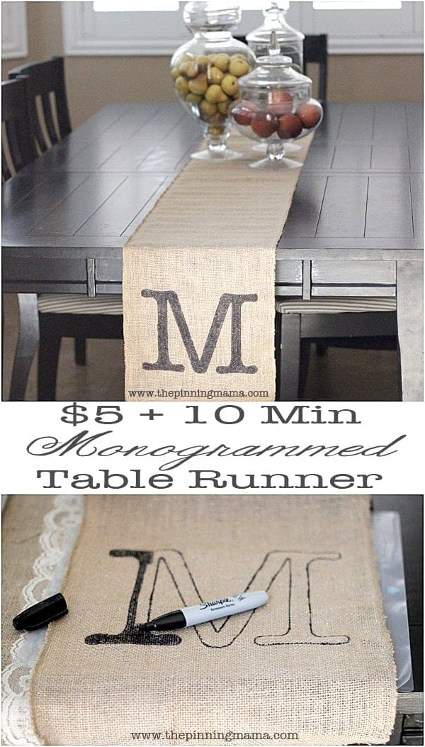 5 10 minute easy monogrammed table runner the pinning for 10 minute table runner directions