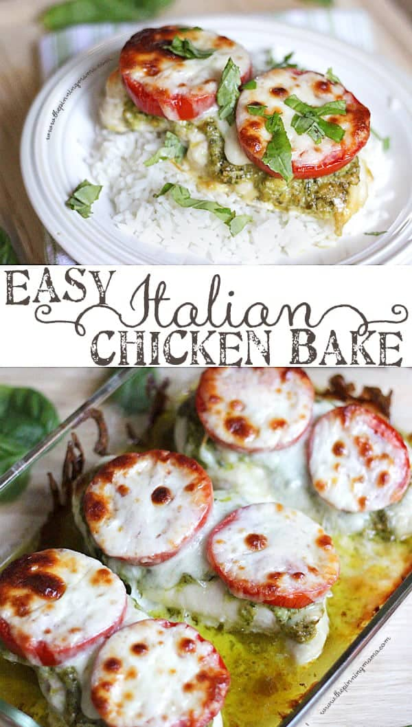 So easy and tastes AMAZING! The perfect weeknight dinner recipe! Easy Italian Chicken Bake.
