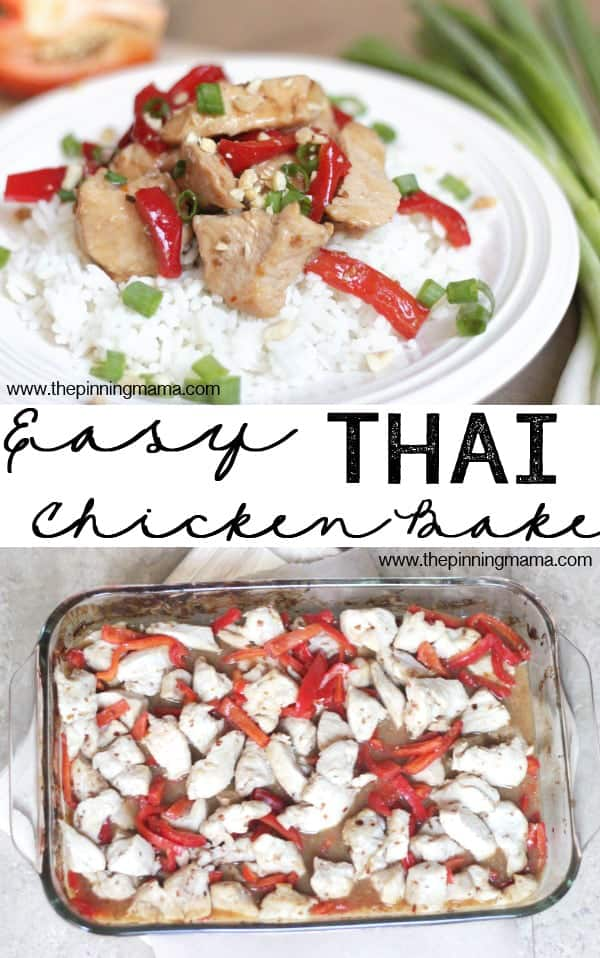 Only 5 ingredients and a few minutes to make this quick and easy Asian inspired dinner recipe! Easy Thai Chicken Bake