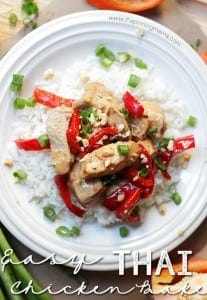 One of our favorite weeknight dinners! Only 5 ingredients to an awesome meal! Easy Thai Chicken Bake