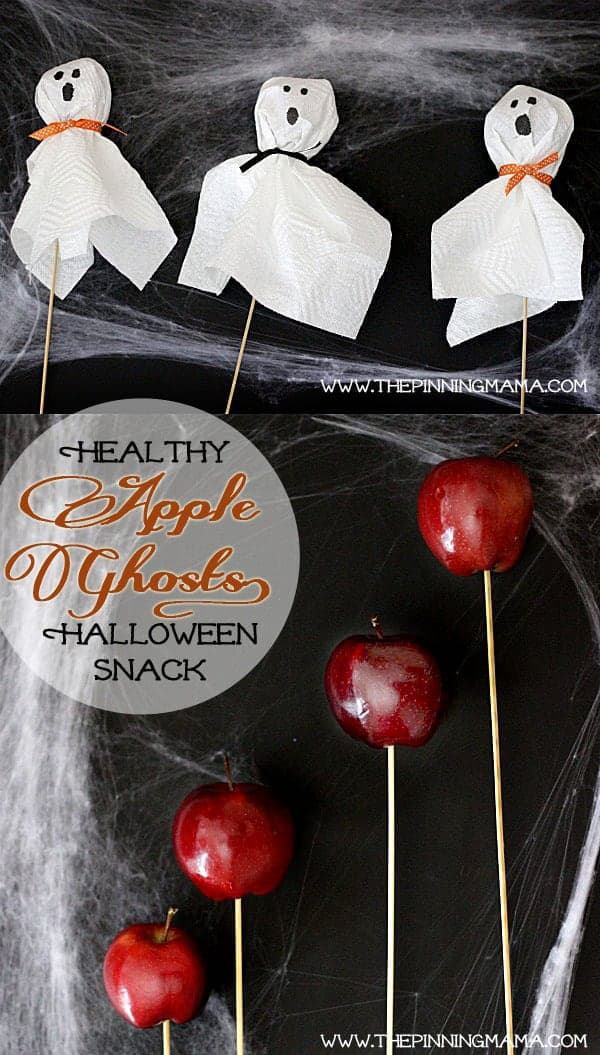 Healthy Halloween Apple Ghosts. These are the perfect non candy treat to make for the Halloween Party!