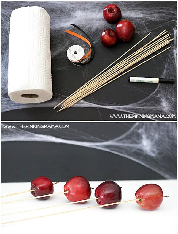 This is a great healthy alternative to handing out Halloween candy and it is easy enough to do as a craft with your kids! Healthy Apple Ghosts