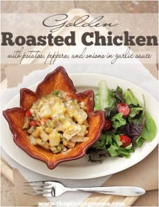 Roasted Chicken with potatoes, onion, peppers, in garlic sauce is ready in minutes.