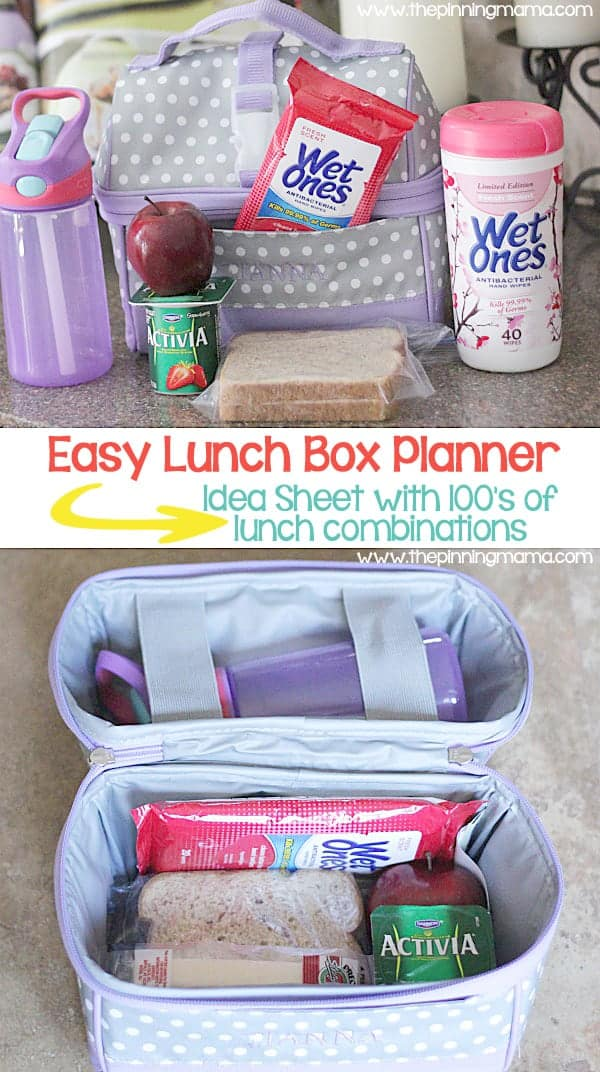 Make packing school lunch easy with this free printable planner! 100's of combinations of easy and healthy foods for your lunch box.