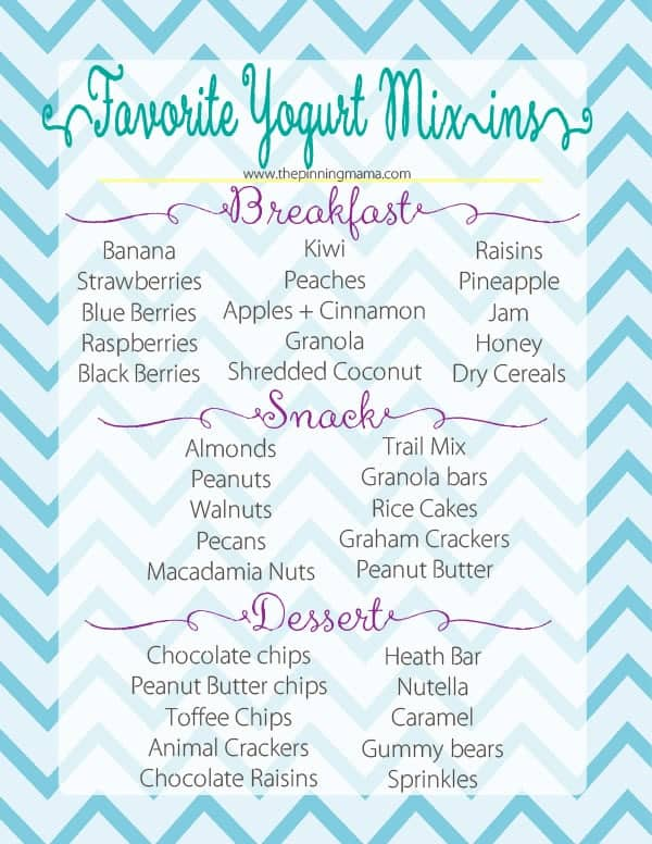 Our favorite yogurt toppings.  So fun to mix in your yogurt for a healthy breakfast, snacks, or dessert!