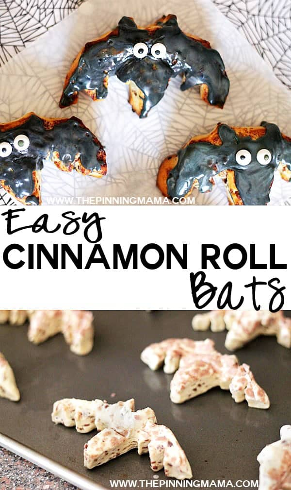 Cinnamon Roll Bats - Easy Halloween Breakfast idea!
