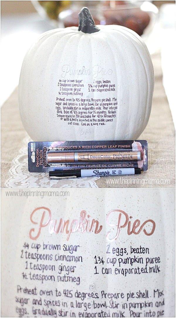 What a cute idea! Stencil a pumpkin pie recipe on a pumpkin for quick and easy fall decorating!