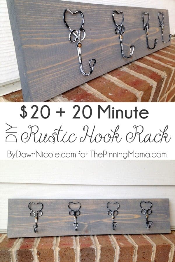 Only 20 minutes of your time to make this adorable rustic hook rack! Love!