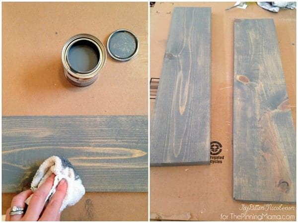 Love this gray stain.  Gives wood the perfect weathered look!