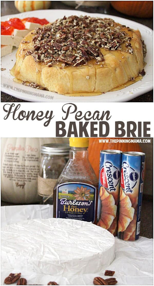 Only 4 ingredients for this Honey Pecan Baked Brie and EVERYONE will ask for the recipe!