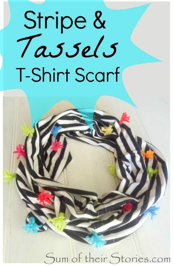 Stripe and tassels scarf