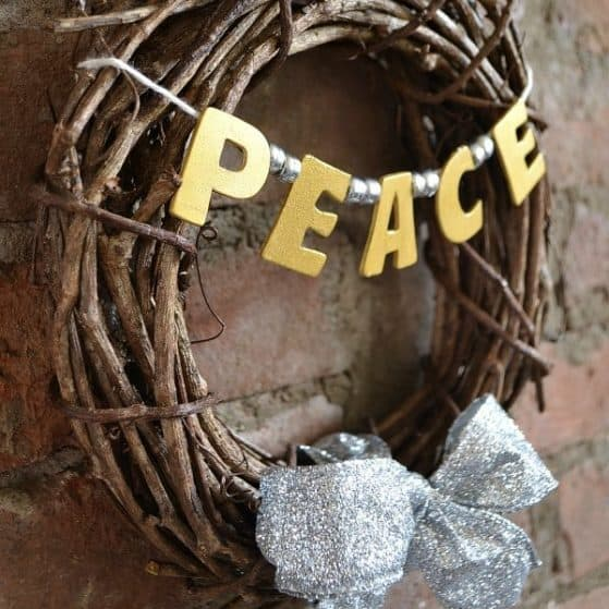 Mini Silver and Gold Peace Wreath | Hello Little Home