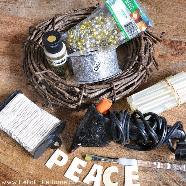 Mini Silver and Gold Peace Wreath: Supplies | Hello Little Home