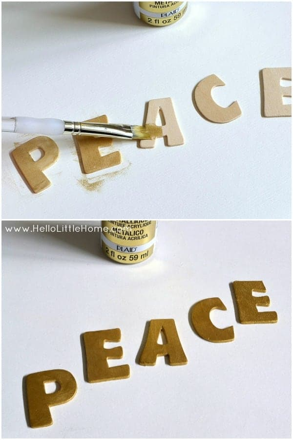 Mini Silver and Gold Peace Wreath: Painting Letters | Hello Little Home