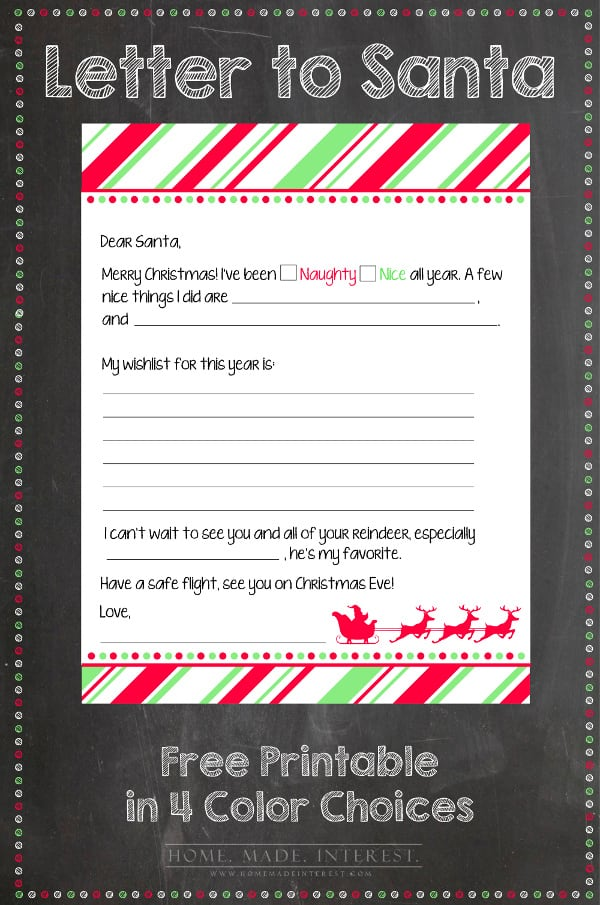 Merry Christmas Letter T.Letter To Santa Printable The Pinning Mama