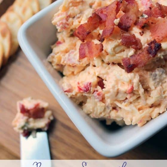 Bacon Sriracha Pimento Cheese Dip. Perfect snack to enjoy while watching football! | ThePinningMama.com