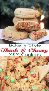Bakery Style Thick & Chewy M&M Cookies