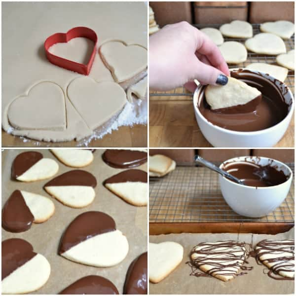 Chocolate-Dipped Shortbread Hearts: Assembly | Hello Little Home for The Pinning Mama #ValentinesDay #Cookies