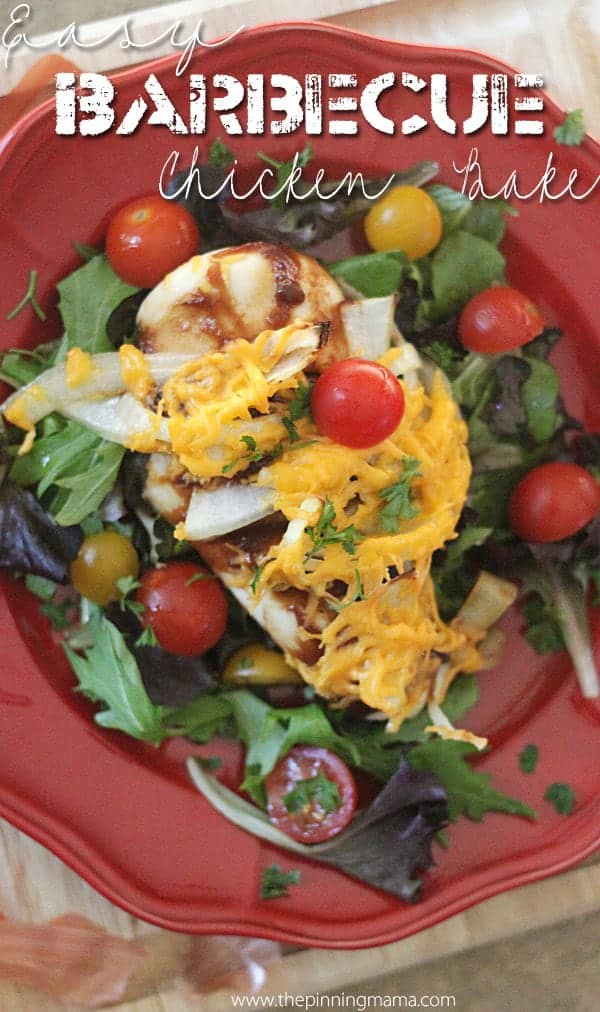 Serve this barbecue chicken bake over greens for a healthy dinner recipe the whole family will devour!