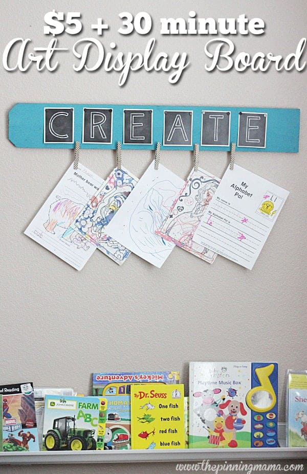 I am making this on Saturday! Kid's Art Display Board at thepinningmama.com