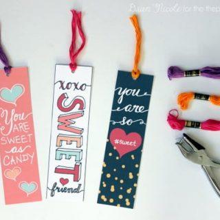 Hand-Lettered Valentine's Bookmark Printables