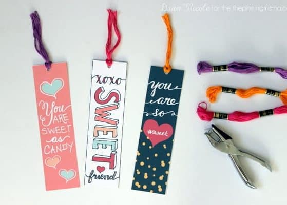 Hand-Lettered Valentine's Bookmark Printables. Just print, cut, hole punch and add some embroidery thread. Add any candy for a sweet little Valentine's Day Gift! | thepinningmama.com