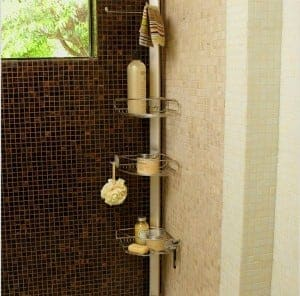 Great way to organize shower stuff in the bathroom! Lots of bathroom organization ideas on thepinningmama.com
