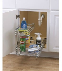 Great way to organize under sink in the bathroom!  Lots of bathroom organization ideas on thepinningmama.com