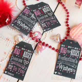 Hugs & Kisses Valentine's Day Favor Printable