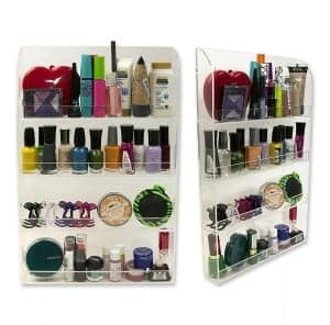 Great way to organize nail polish in the bathroom!  Lots of bathroom organization ideas on thepinningmama.com