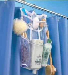 Great way to organize shower stuff in the bathroom!  Lots of bathroom organization ideas on thepinningmama.com