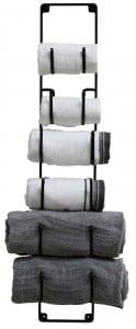 Great way to organize towels in the bathroom! Lots of bathroom organization ideas on thepinningmama.com