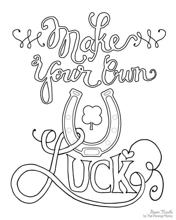 Make Your Own Luck Print + Coloring Page | Dawn Nicole for ThePinningMama.com