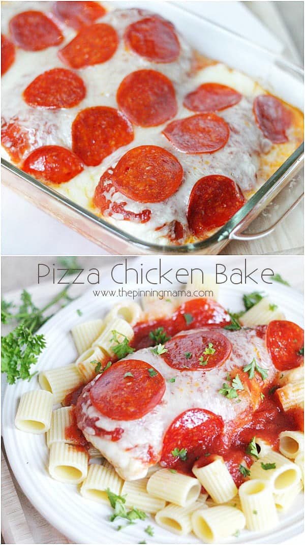 Easy + Delicious = My favorite kind of recipe! Easy Pizza Chicken Bake from thepinningmama.com