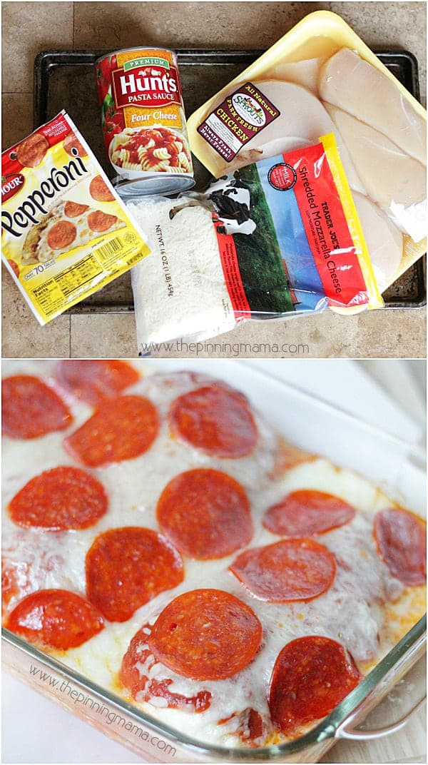 Only 4 ingredients and the kids can help make it! Easy Pizza Chicken Bake recipe from thepinningmama.com