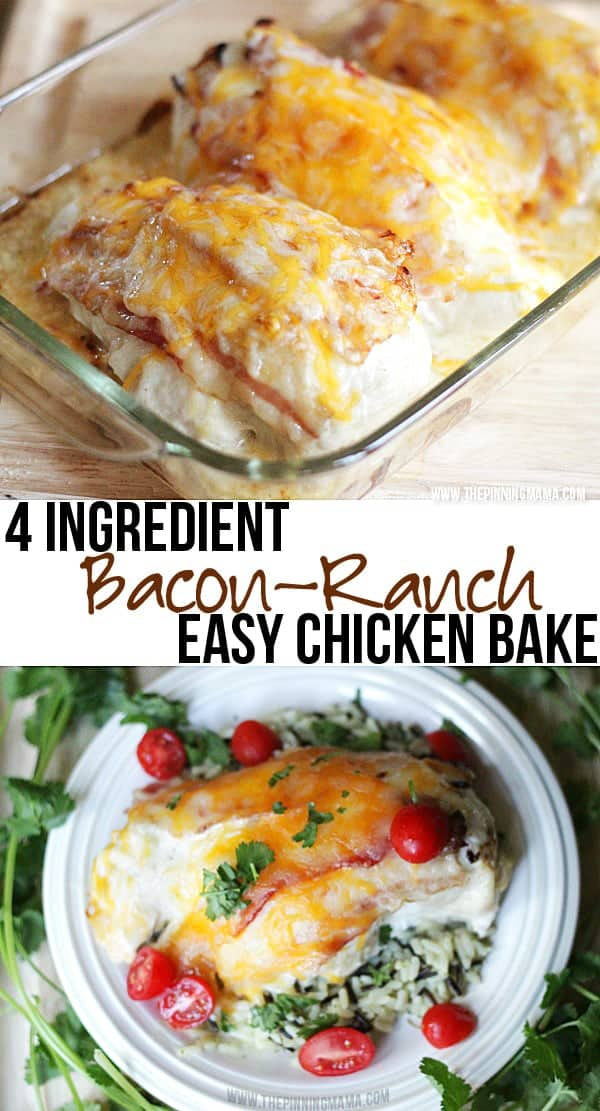 Easy + Delicious = My favorite kind of dinner! Bacon Ranch Chicken Bake by thepinningmama.com