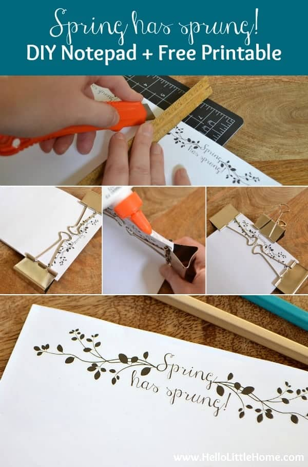 Follow these easy step-by-step directions to make a Spring has sprung! DIY Notepad | Hello Little Home for The Pinning Mama