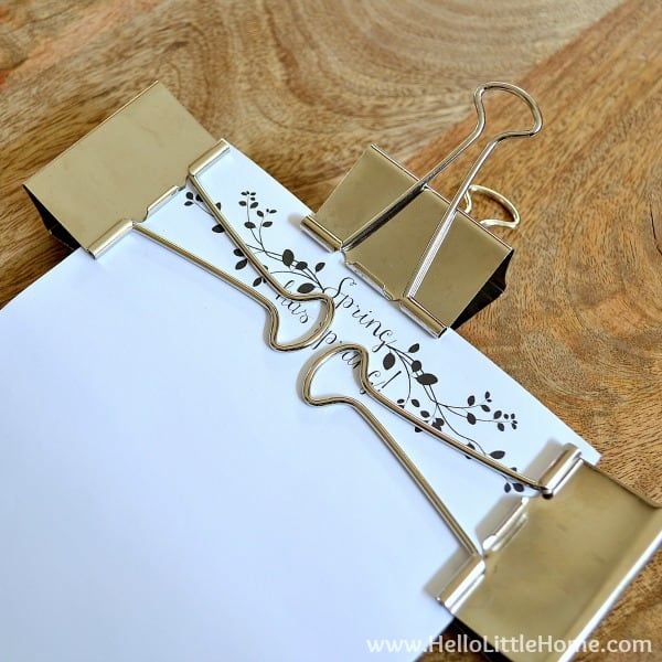 Clipping the glued pages for the DIY Notepad | Hello Little Home for The Pinning Mama