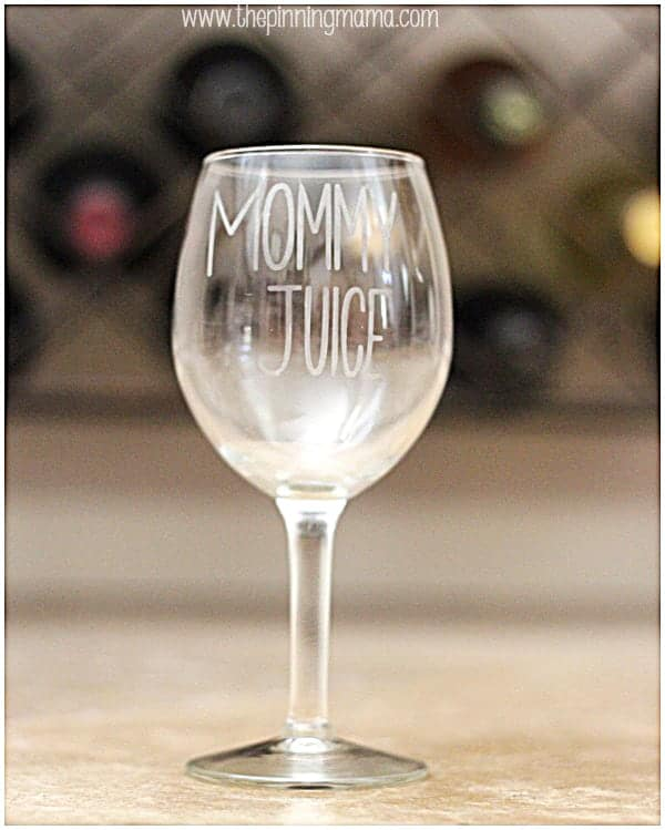 "Every mom needs her own ""mommy juice"" or ""mom's sippy cup"" glass to call her own."