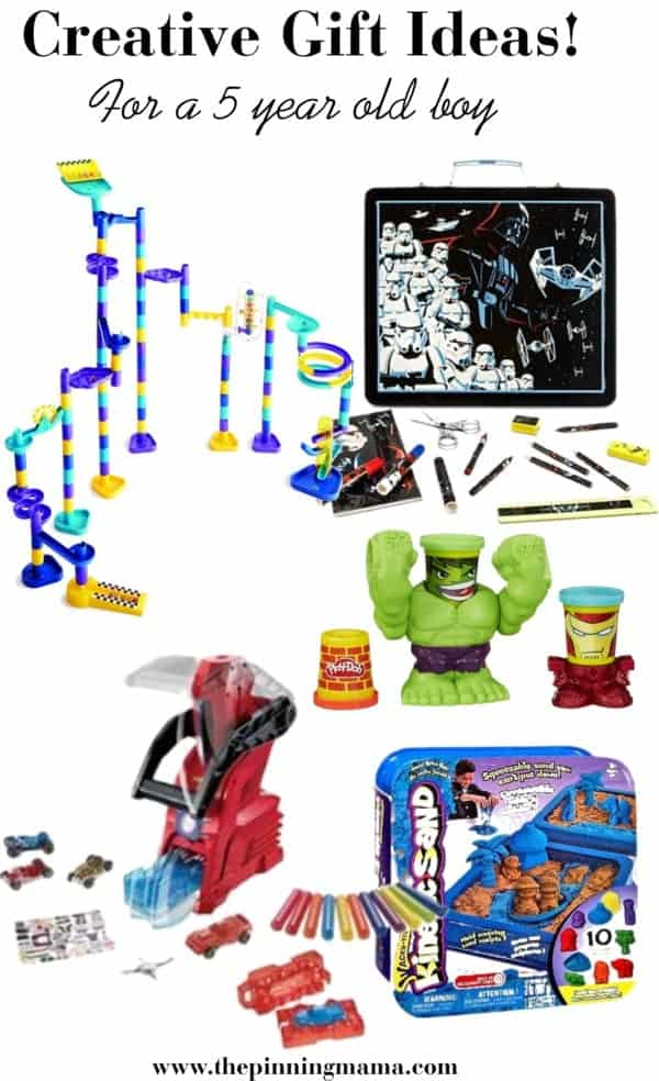 Best Creative Gift Ideas for a 5 Year Old Boy! Including Marble works, art sets, play doh, model car builders and kinetic sand