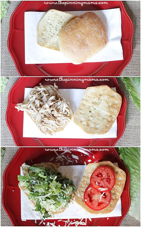 Slow cooker chicken caesar sandwiches! Such an easy idea for dinner!