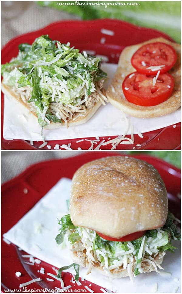 Crock pot chicken caesar sandwiches. This is perfect food for a baby shower! Recipe via thepinningmama.com