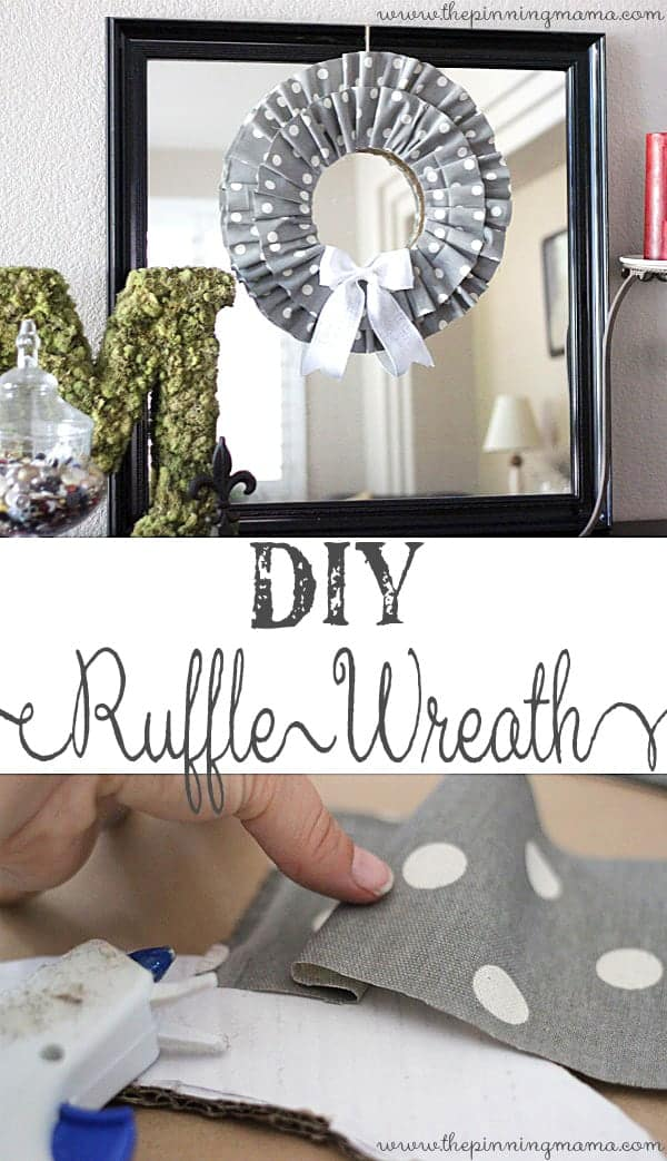 DIY No Sew Ruffle Wreath- Make in different colored fabric for different seasons! Tutorial via thepinningmama.com