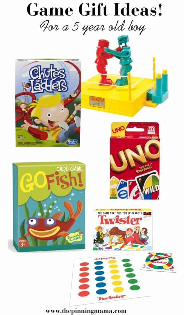 Best Game Gift Ideas for a 5 Year Old Boy! Including chutes and ladders, card games, rock em sock em and twister