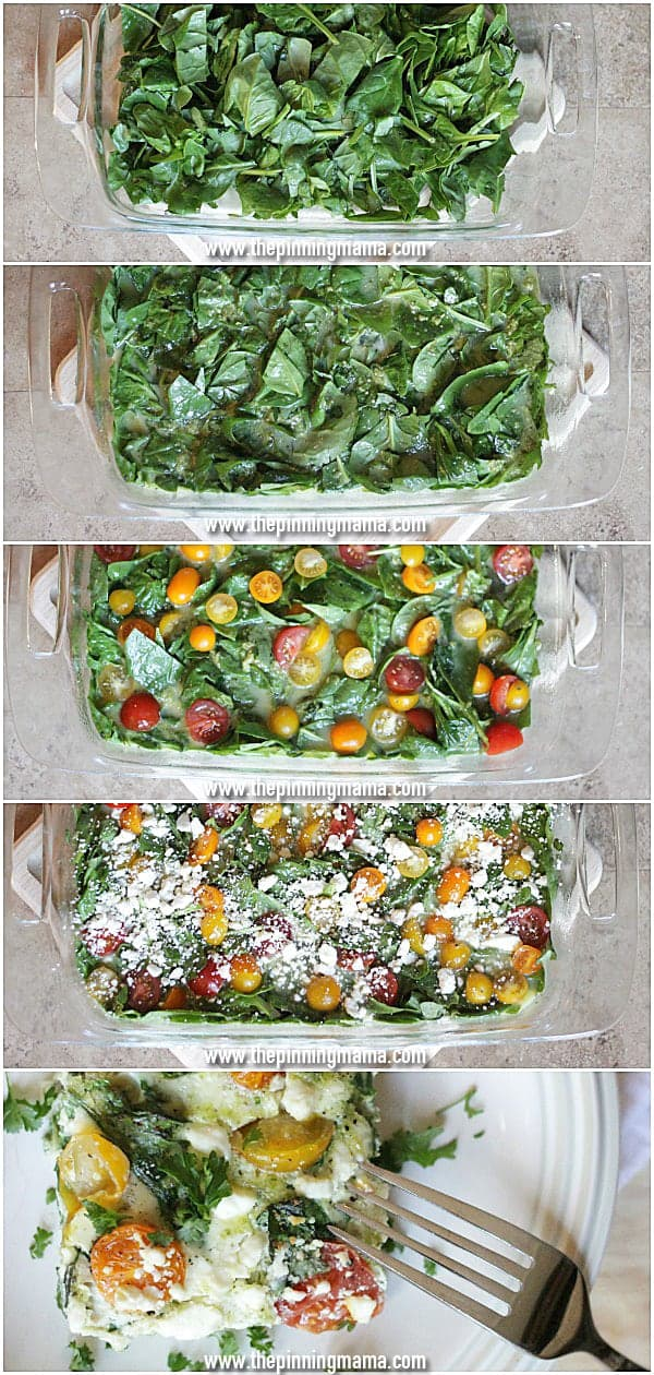 So healthy! So EASY! Spinach Pesto Feta Egg White Casserole via thepinningmama..com