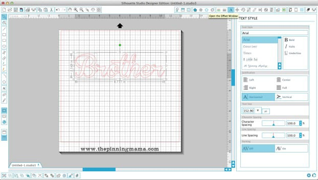 The offset tool is used to create an outline around any text or shape in Silhouette Design Software