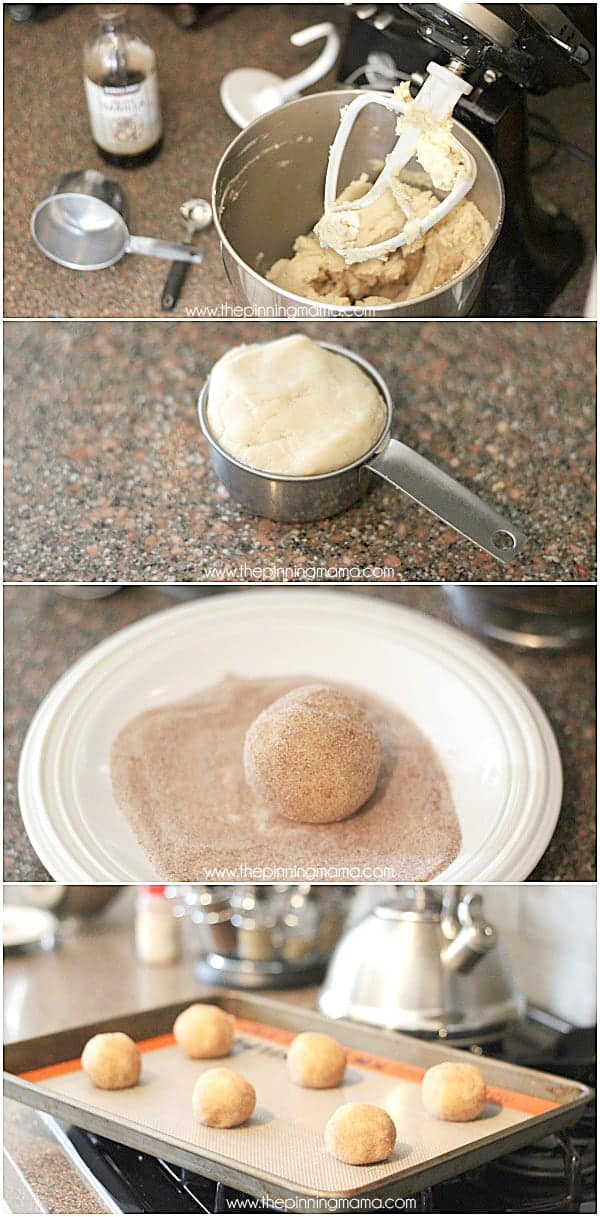 How to make soft and chewy super thick Snickerdoodle Cookies! Step by Step at thepinningmama.com